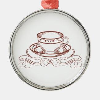 Tea Cup Redword Metal Ornament