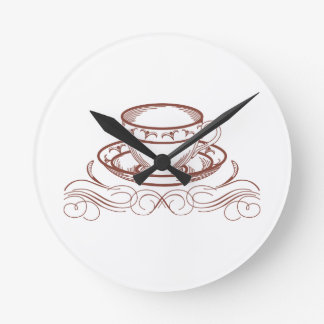 Tea Cup Redword Round Clock