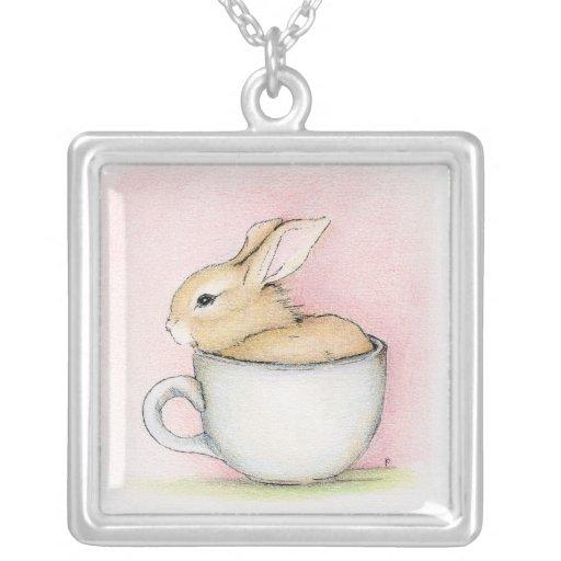 Tea Cup Square Pendant Necklace