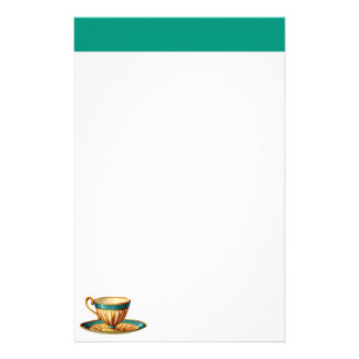 Tea Cup Stationery in Gold and Green