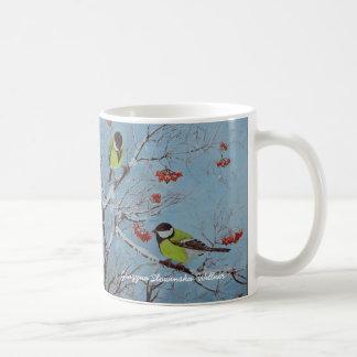 Tea cup, tits in the winter, coffee mug