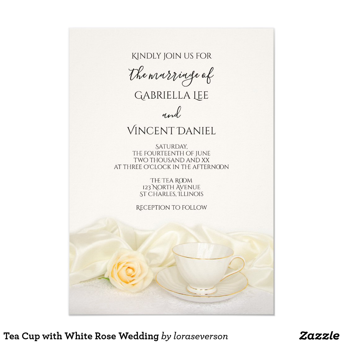 Tea Cup with White Rose Wedding Invitation