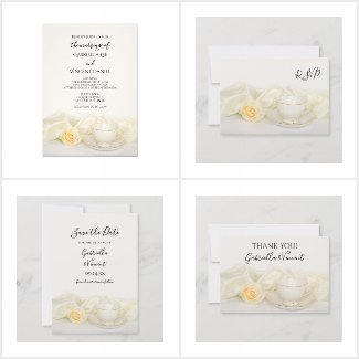 Tea Cup with White Rose Wedding Invitations