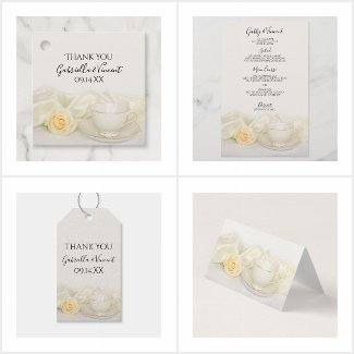 Tea Cup with White Rose Wedding Reception Products