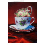 Tea Cups and Red Satin Greeting Cards