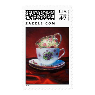 Tea Cups and Red Satin stamp