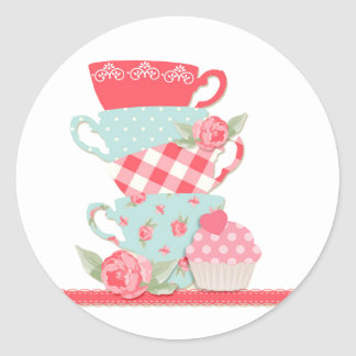 Tea Cups and Roses Classic Round Sticker