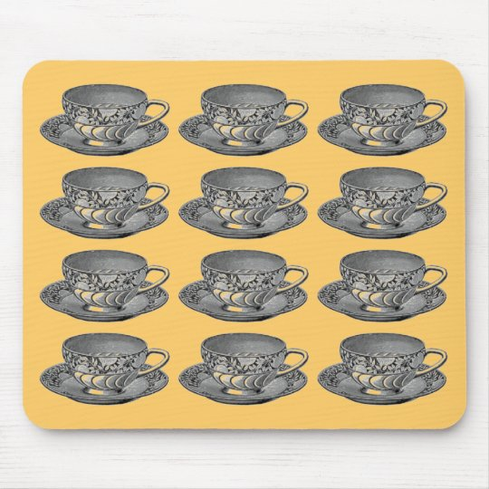 Tea Cups - Apricot Mouse Pad