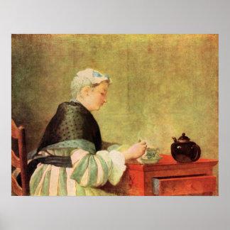 Tea Drinker by Jean Chardin Print