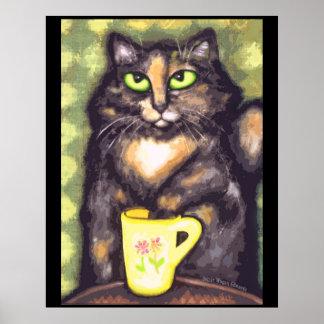 Tea Drinking Tortie Cat Art Print