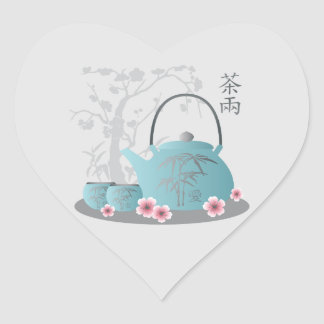"""Tea for tow"" Tea set and flowers Heart Sticker"