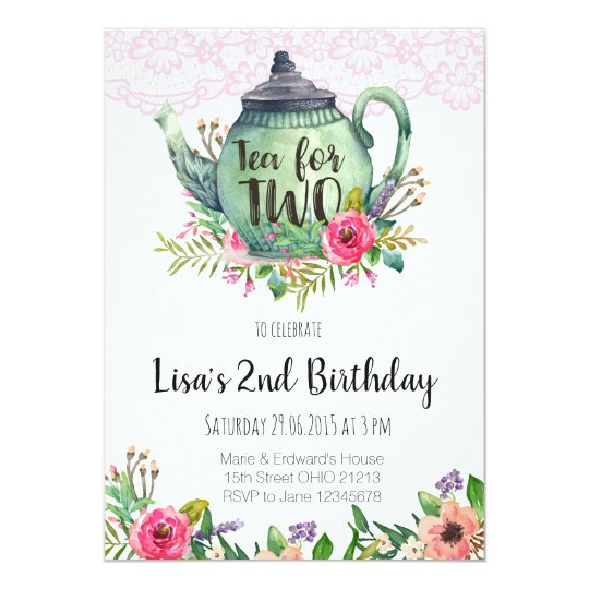 Tea for Two Birthday Party Invitation Zazzlecom