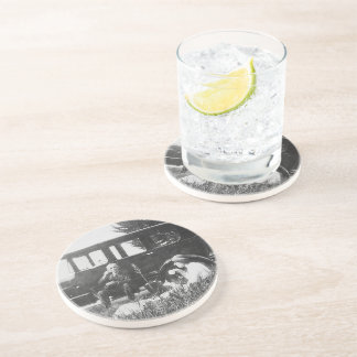 Tea For Two Black & White Sandstone Coaster