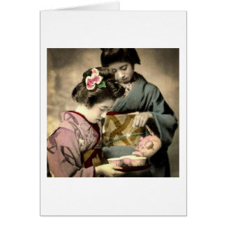 Tea for Two Geisha in Old Japan Vintage Japanese Card