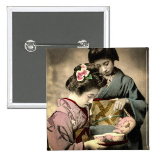 Tea for Two Geisha in Old Japan Vintage Japanese Pinback Button