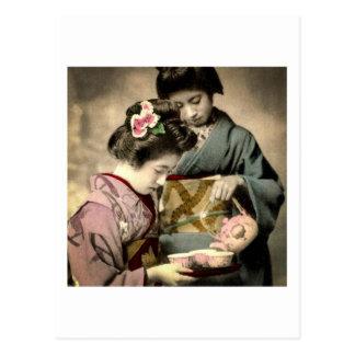 Tea for Two Geisha in Old Japan Vintage Japanese Postcard