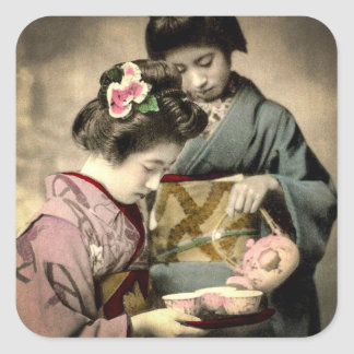 Tea for Two Geisha in Old Japan Vintage Japanese Square Sticker