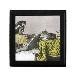 Tea for Two Party Vintage Victorian KItty Cat Girl Jewelry Box