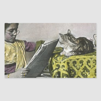 Tea for Two Party Vintage Victorian KItty Cat Girl Rectangular Sticker