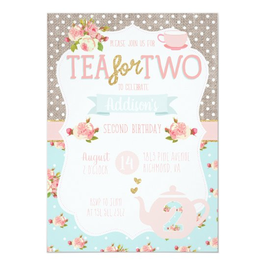 Tea for two second birthday invitation zazzle tea for two second birthday invitation filmwisefo