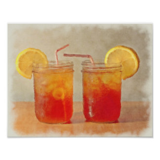 Tea for Two Southern Style Mason Jars of Sweet Tea Poster