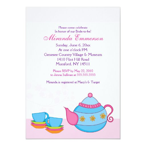 Tea For Two Tea Party Bridal Shower 5x7 Card