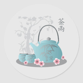 """""""Tea for two"""" Tea set and flowers Classic Round Sticker"""