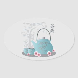 """""""Tea for two"""" Tea set and flowers Oval Sticker"""