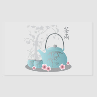"""Tea for two"" Tea set and flowers Rectangular Sticker"
