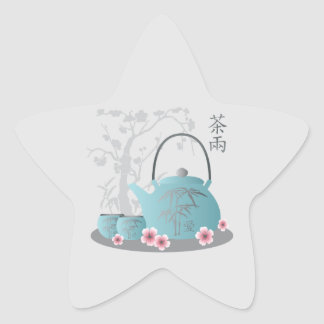 """Tea for two"" Tea set and flowers Star Sticker"