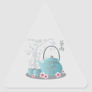 """Tea for two"" Tea set and flowers Triangle Sticker"