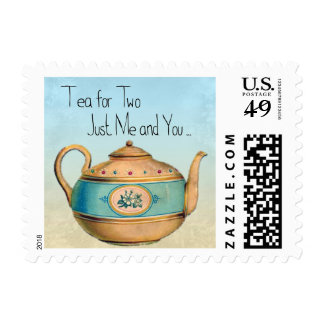 Tea for Two Teapot Greeting Stamp