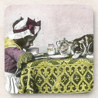 Tea for Two Victorian Girl and Kitty Cat Tea Party Beverage Coaster