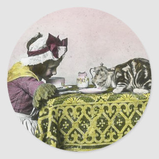 Tea for Two Victorian Girl and Kitty Cat Tea Party Classic Round Sticker
