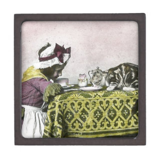 Tea for Two Victorian Girl and Kitty Cat Tea Party Jewelry Box