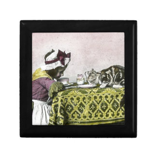 Tea for Two Victorian Girl and Kitty Cat Tea Party Keepsake Box