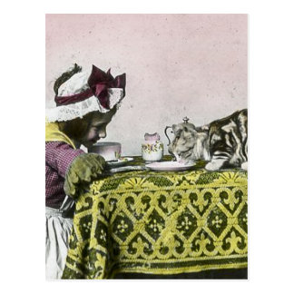 Tea for Two Victorian Girl and Kitty Cat Tea Party Postcard