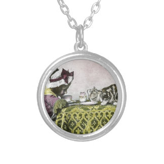 Tea for Two Victorian Girl and Kitty Cat Tea Party Round Pendant Necklace