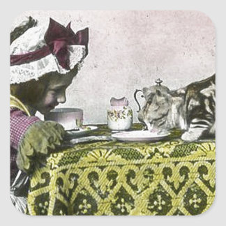 Tea for Two Victorian Girl and Kitty Cat Tea Party Square Sticker