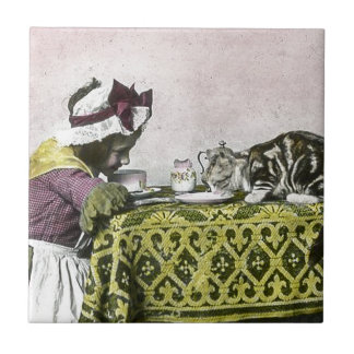 Tea for Two Victorian Girl and Kitty Cat Tea Party Tile