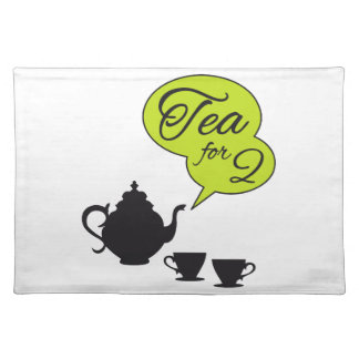 Tea for two, vintage tea pot and cup placemats