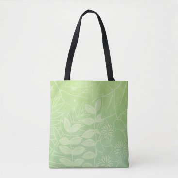 Beach Themed Tea-Green Tropical Foliage All-Over-Print Tote Bag