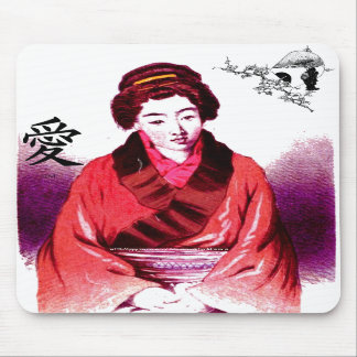 Tea House Attentant in love-Mouse Pad