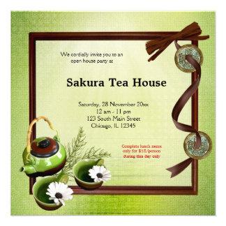Tea House Grand Opening Custom Invitation