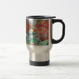 Tea House in San Francisco Watercolor Painting 15 Oz Stainless Steel Travel Mug