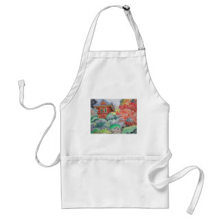 Tea House in San Francisco Watercolor Painting Adult Apron