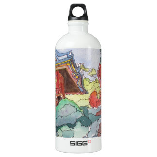 Tea House in San Francisco Watercolor Painting Aluminum Water Bottle