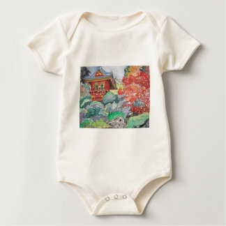 Tea House in San Francisco Watercolor Painting Baby Bodysuit
