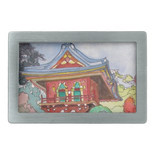 Tea House in San Francisco Watercolor Painting Rectangular Belt Buckles