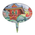 Tea House in San Francisco Watercolor Painting Cake Picks